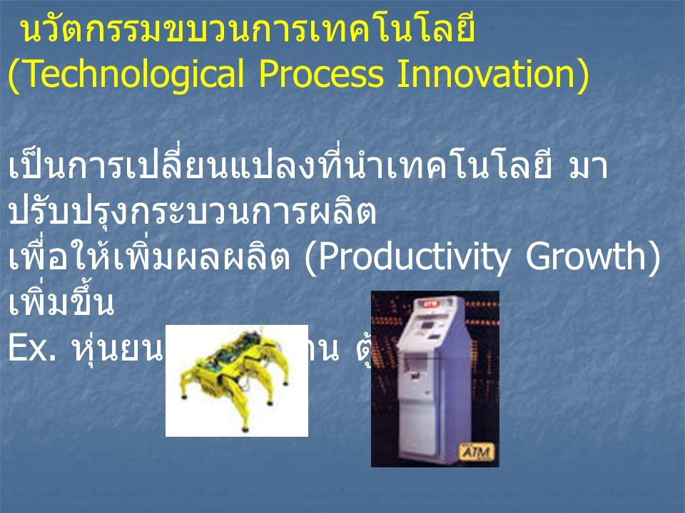 นวัตกรรมขบวนการเทคโนโลยี (Technological Process Innovation) เป็นการเปลี่ยนแปลงที่นำเทคโนโลยี มา ปรับปรุงกระบวนการผลิต เพื่อให้เพิ่มผลผลิต (Productivity Growth) เพิ่มขึ้น Ex.