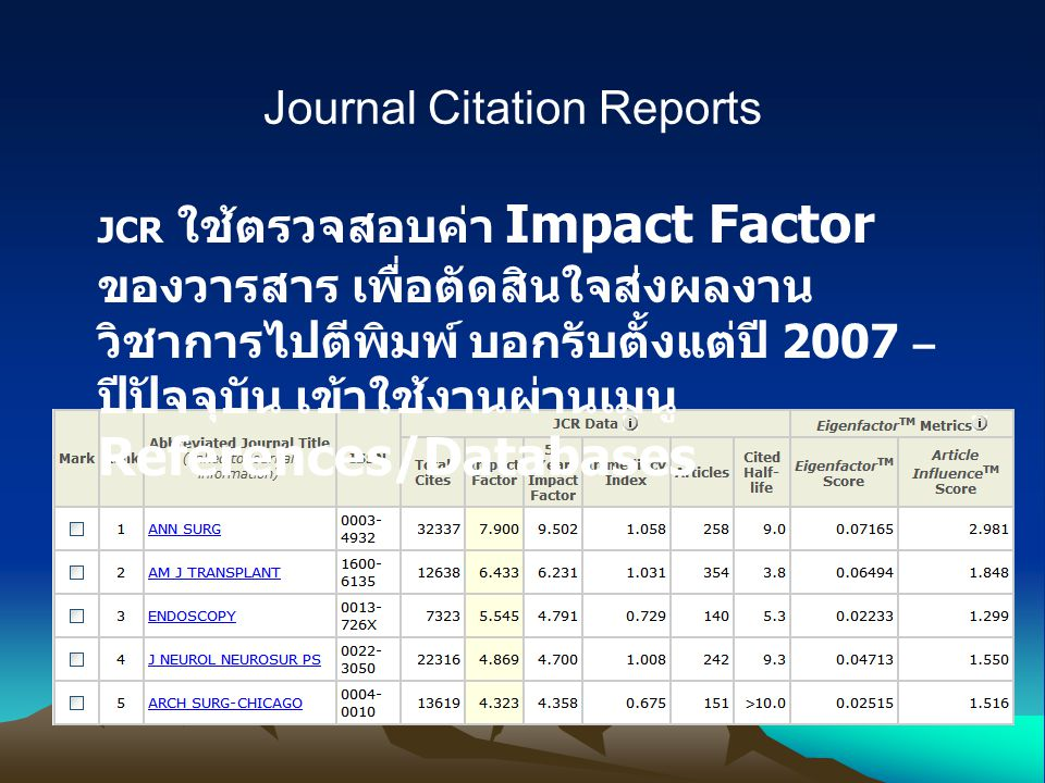 Journal Citation Reports JCR ใช้ตรวจสอบค่า Impact Factor ของวารสาร เพื่อตัดสินใจส่งผลงาน วิชาการไปตีพิมพ์ บอกรับตั้งแต่ปี 2007 – ปีปัจจุบัน เข้าใช้งานผ่านเมนู References/Databases
