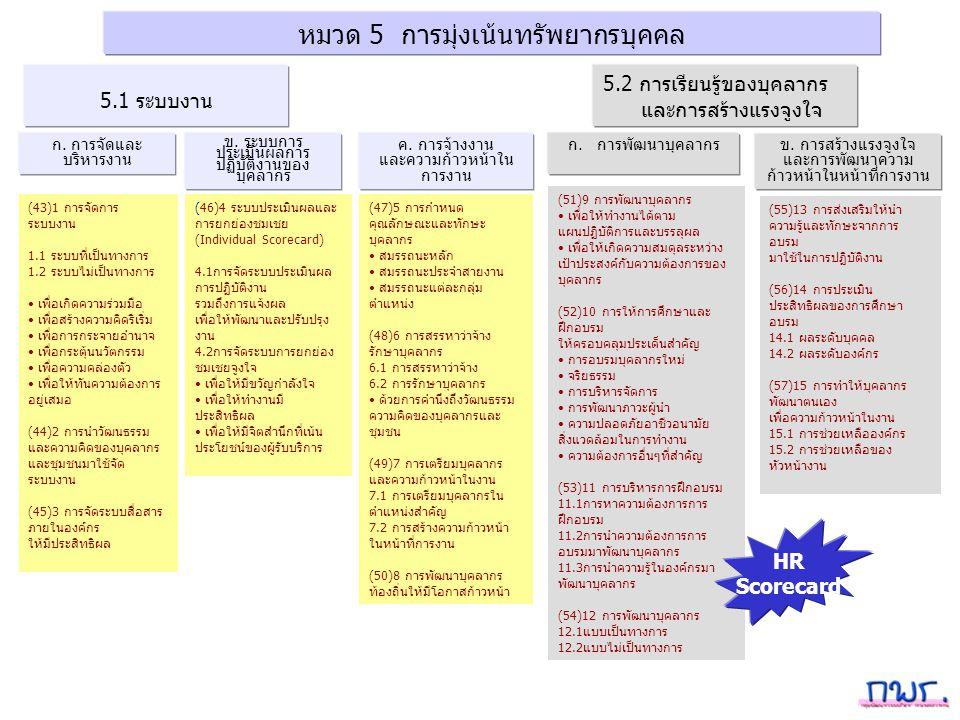 หมวด 5 การมุ่งเน้นทรัพยากรบุคคล ก.การจัดและ บริหารงาน 5.1 ระบบงาน ค.