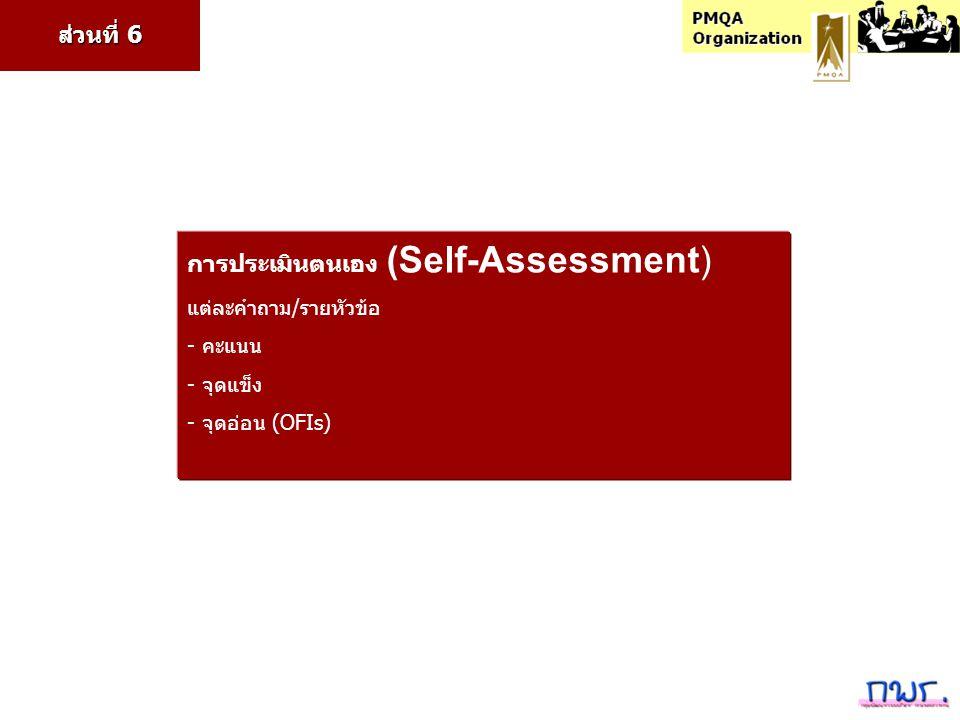 การประเมินตนเอง (Self-Assessment) แต่ละคำถาม/รายหัวข้อ - คะแนน - จุดแข็ง - จุดอ่อน (OFIs) ส่วนที่ 6