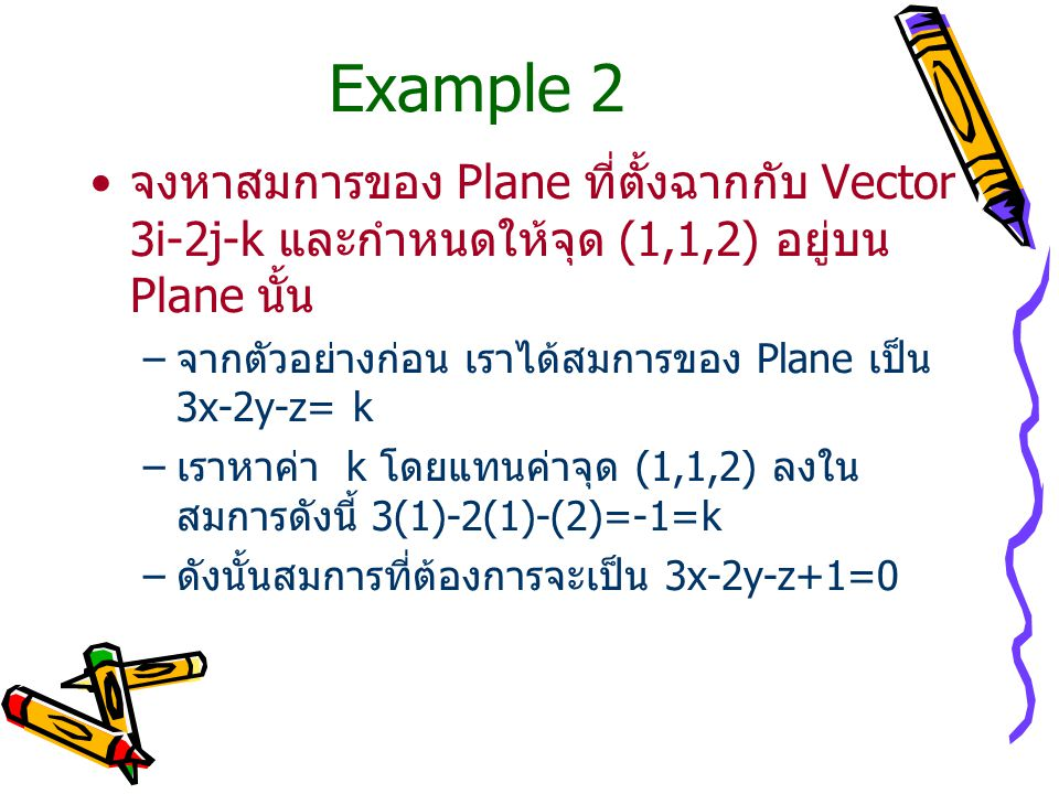 Example 2 จงหาสมการของ Plane ที่ตั้งฉากกับ Vector 3i-2j-k และกำหนดให้จุด (1,1,2) อยู่บน Plane นั้น –จากตัวอย่างก่อน เราได้สมการของ Plane เป็น 3x-2y-z=