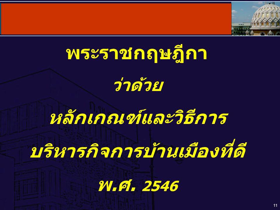 11 พระราชกฤษฎีกา ว่าด้วย หลักเกณฑ์และวิธีการ บริหารกิจการบ้านเมืองที่ดี พ.ศ. 2546