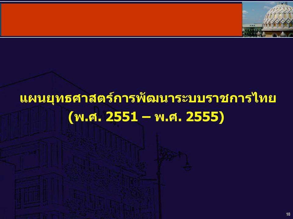 18 แผนยุทธศาสตร์การพัฒนาระบบราชการไทย (พ.ศ. 2551 – พ.ศ. 2555)