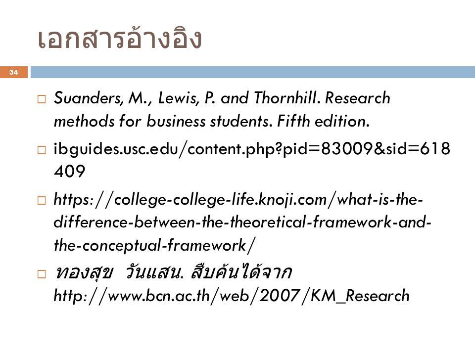 เอกสารอ้างอิง  Suanders, M., Lewis, P.and Thornhill.