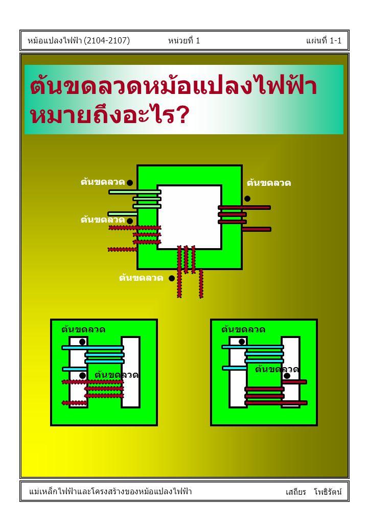 หน่วยที่ 1แผ่นที่ 1-1 หม้อแปลงไฟฟ้า (2104-2107) แม่เหล็กไฟฟ้าและโครงสร้างของหม้อแปลงไฟฟ้า เสถียร โพธิรัตน์ ต้นขดลวดหม้อแปลงไฟฟ้า หมายถึงอะไร ? ต้นขดลว