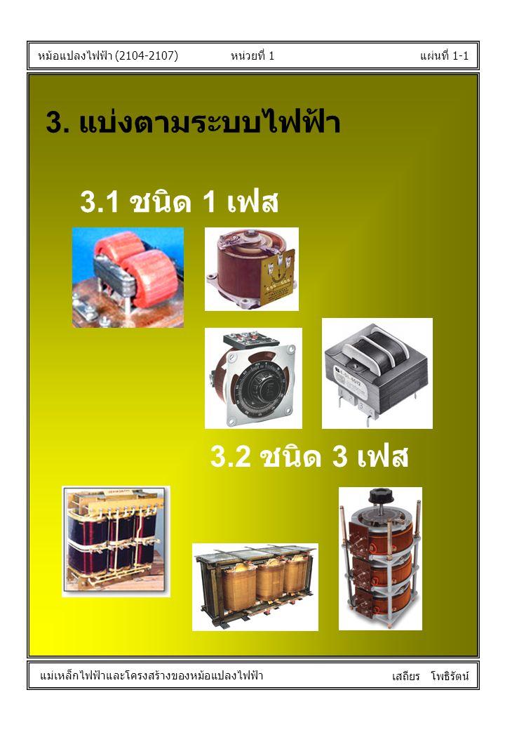 หน่วยที่ 1แผ่นที่ 1-1 หม้อแปลงไฟฟ้า (2104-2107) แม่เหล็กไฟฟ้าและโครงสร้างของหม้อแปลงไฟฟ้า เสถียร โพธิรัตน์ 3. แบ่งตามระบบไฟฟ้า 3.1 ชนิด 1 เฟส 3.2 ชนิด