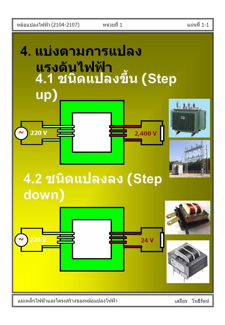 หน่วยที่ 1แผ่นที่ 1-1 หม้อแปลงไฟฟ้า (2104-2107) แม่เหล็กไฟฟ้าและโครงสร้างของหม้อแปลงไฟฟ้า เสถียร โพธิรัตน์ 4. แบ่งตามการแปลง แรงดันไฟฟ้า 4.1 ชนิดแปลงข