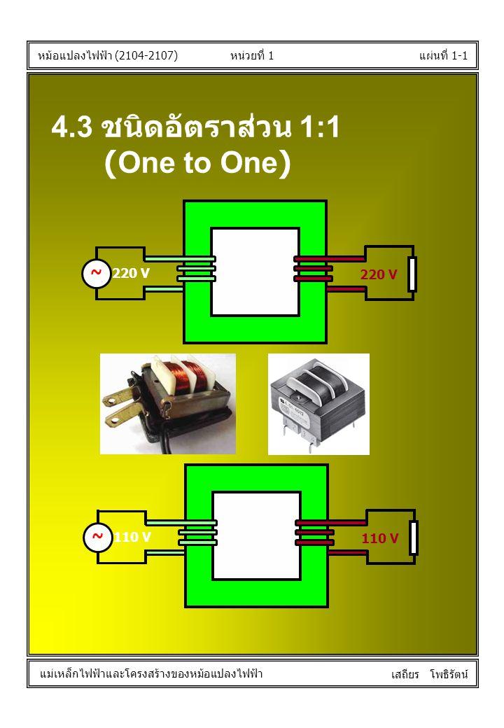 หน่วยที่ 1แผ่นที่ 1-1 หม้อแปลงไฟฟ้า (2104-2107) แม่เหล็กไฟฟ้าและโครงสร้างของหม้อแปลงไฟฟ้า เสถียร โพธิรัตน์ 4.3 ชนิดอัตราส่วน 1:1 (One to One) 220 V ~