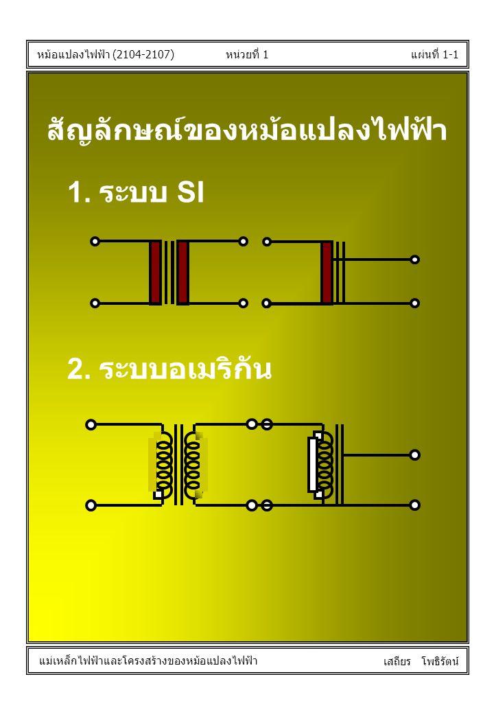 หน่วยที่ 1แผ่นที่ 1-1 หม้อแปลงไฟฟ้า (2104-2107) แม่เหล็กไฟฟ้าและโครงสร้างของหม้อแปลงไฟฟ้า เสถียร โพธิรัตน์ สัญลักษณ์ของหม้อแปลงไฟฟ้า 1. ระบบ SI 2. ระบ