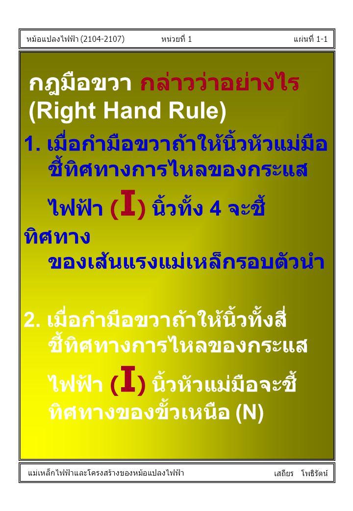 หน่วยที่ 1แผ่นที่ 1-1 หม้อแปลงไฟฟ้า (2104-2107) แม่เหล็กไฟฟ้าและโครงสร้างของหม้อแปลงไฟฟ้า เสถียร โพธิรัตน์ กฎมือขวา กล่าวว่าอย่างไร (Right Hand Rule)
