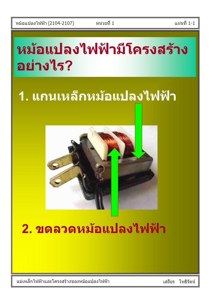 หน่วยที่ 1แผ่นที่ 1-1 หม้อแปลงไฟฟ้า (2104-2107) แม่เหล็กไฟฟ้าและโครงสร้างของหม้อแปลงไฟฟ้า เสถียร โพธิรัตน์ หม้อแปลงไฟฟ้ามีโครงสร้าง อย่างไร ? 1. แกนเห