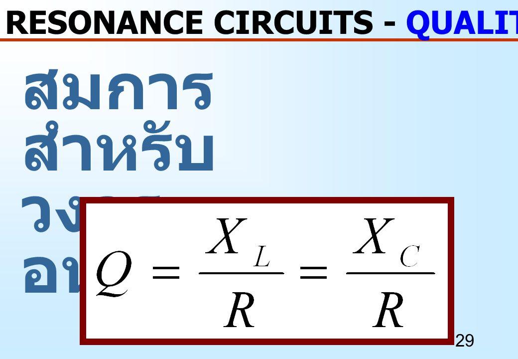 29 สมการ สำหรับ วงจร อนุกรม RESONANCE CIRCUITS - QUALITY FACTOR