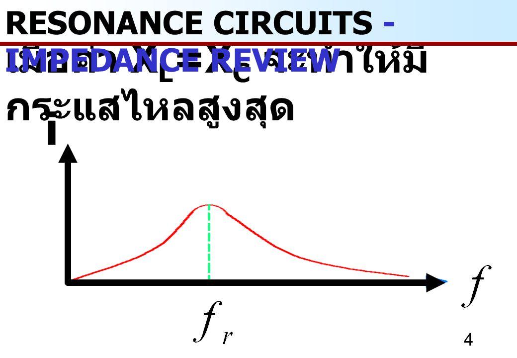 35 RESONANCE CIRCUITS - PARALLEL RESONANCE คุณสมบัติ f r ของวงจรขนานในทางปฏิบัติ - f r ขึ้นอยู่กับค่า R L - f r นี้เหมือนกับวงจรอนุกรมคูณด้วย - ถ้าเทอม มากกว่า 1 จะไม่เกิด f r