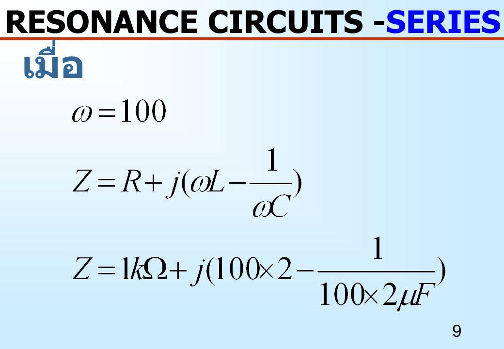 20 ตัวอย่างที่ 2 RESONANCE CIRCUITS -SERIES RESONANCE กำหนด จงหาค่า