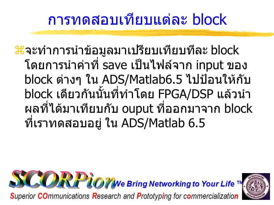 We Bring Networking to Your Life ™ S uperior CO mmunications R esearch and P rototyp i ng for c o mmercializatio n การทดสอบเทียบแต่ละ block [2] Block ต่างๆ ที่จะทำการทดสอบ Transport Channel ( ฝั่งส่ง ) Transport Channel ( ฝั่งรับ ) Physical channel ( ฝั่งส่ง ) Physical channel ( ฝั่งรับ ) CRC 8,12,16,24 EncoderSyndrome Detector Physical channel segment Physical channel Concatenation Transport block concatenation /code block segmentation Code Block Concatenation /transport block segment2nd Interleaver2nd Deinterleaver convolution 1/2, 1/3 encoderconvolution 1/2, 1/3 decoder Physical channel mapping (slot) Physical channel demapping (slot) Turbo code encoderTurbo code decoderSpreadingSlot Splitter Rate MatchingRate DeMatchingScramblingSlot Rebuilder 1st Interleaver1st Deinterleaverpower adjustmentI&Q Demapping Radio Frame SegmentationRadio Frame Concatenation Radio Frame Segmentation I&Q Demappingpower adjustment1st Deinterleaver1st Interleaver Slot RebuilderScramblingRate DeMatchingRate Matching Slot SplitterSpreadingTurbo code decoderTurbo code encoder Physical channel demapping (slot) Physical channel mapping (slot)convolution 1/2, 1/3 decoderconvolution 1/2, 1/3 encoder 2nd Deinterleaver2nd Interleaver Code Block Concatenation /transport block segment Transport block concatenation /code block segmentation Physical channel Concatenation Physical channel segmentSyndrome DetectorCRC 8,12,16,24 Encoder Physical channel ( ฝั่งรับ ) Physical channel ( ฝั่งส่ง ) Transport Channel ( ฝั่งรับ ) Transport Channel ( ฝั่งส่ง ) Block ต่างๆ ที่จะทำการทดสอบ
