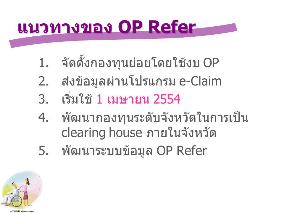 แนวทางของ OP Refer 1.จัดตั้งกองทุนย่อยโดยใช้งบ OP 2.ส่งข้อมูลผ่านโปรแกรม e-Claim 3.เริ่มใช้ 1 เมษายน 2554 4.พัฒนากองทุนระดับจังหวัดในการเป็น clearing