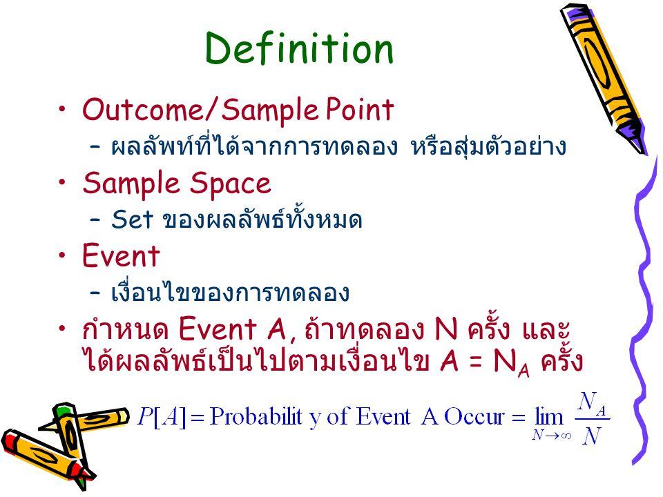 Definition Outcome/Sample Point – ผลลัพท์ที่ได้จากการทดลอง หรือสุ่มตัวอย่าง Sample Space –Set ของผลลัพธ์ทั้งหมด Event – เงื่อนไขของการทดลอง กำหนด Even