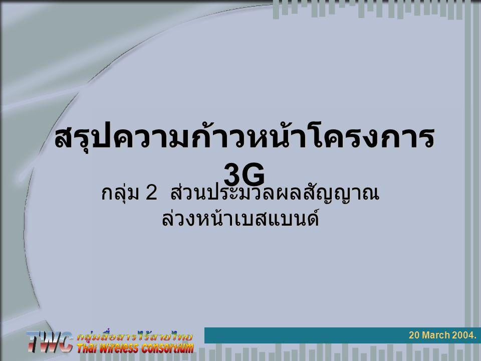 สรุปความก้าวหน้าโครงการ 3G 20 March 2004. กลุ่ม 2 ส่วนประมวลผลสัญญาณ ล่วงหน้าเบสแบนด์