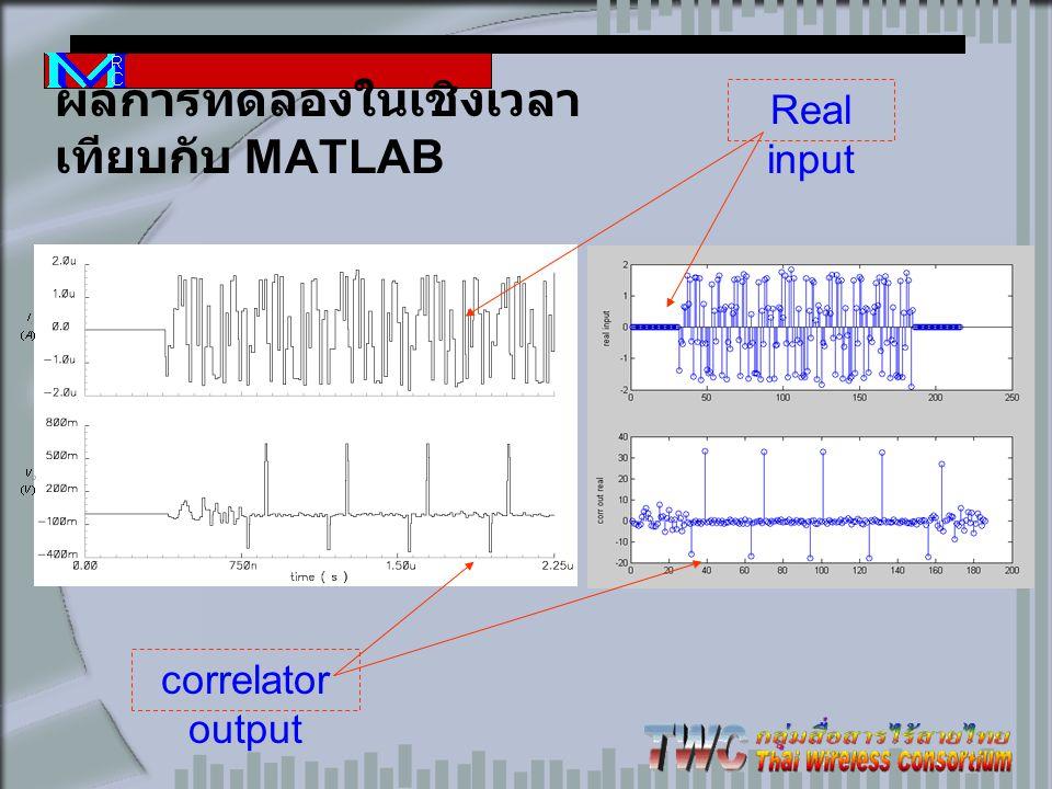 ผลการทดลองในเชิงเวลา เทียบกับ MATLAB correlator output Real input