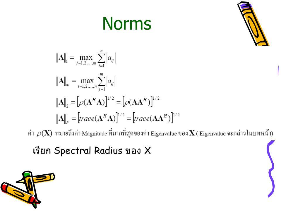 Norms เรียก Spectral Radius ของ X