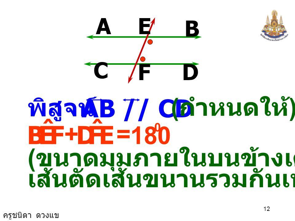 ครูชนิดา ดวงแข 11 A B D C E F AB ตัด ที่จุด E และตัด ที่จุด F CD กำหนดให้ AB // CD มี เป็นเส้นตัด EF ต้องการพิสูจน์ว่า FEA ˆ EFD ˆ = 1.