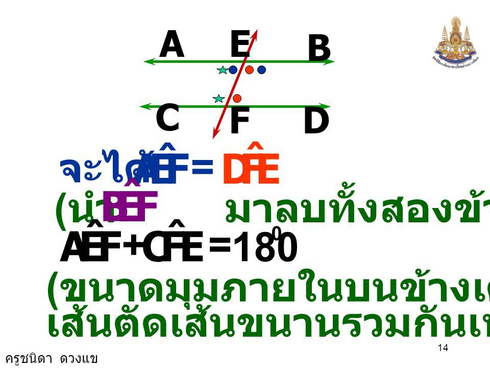ครูชนิดา ดวงแข 13 A B D C E F FEB ˆ FEA ˆ += 180 0 ( ขนาดของมุมตรง ) FEB ˆ FEA ˆ += EFD ˆ + FEB ˆ ( สมบัติของการเท่ากัน )