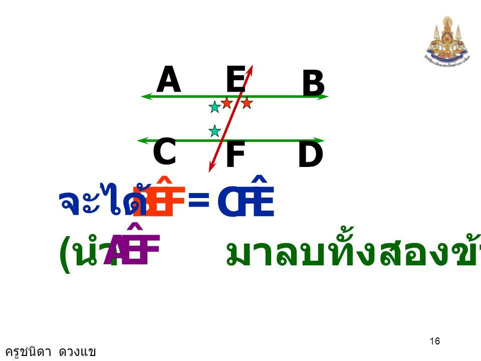 ครูชนิดา ดวงแข 15 A B D C E F FEA ˆ FEB ˆ += 180 0 ( ขนาดของมุมตรง ) FEA ˆ FEB ˆ += EFC ˆ + FEA ˆ ( สมบัติของการเท่ากัน )