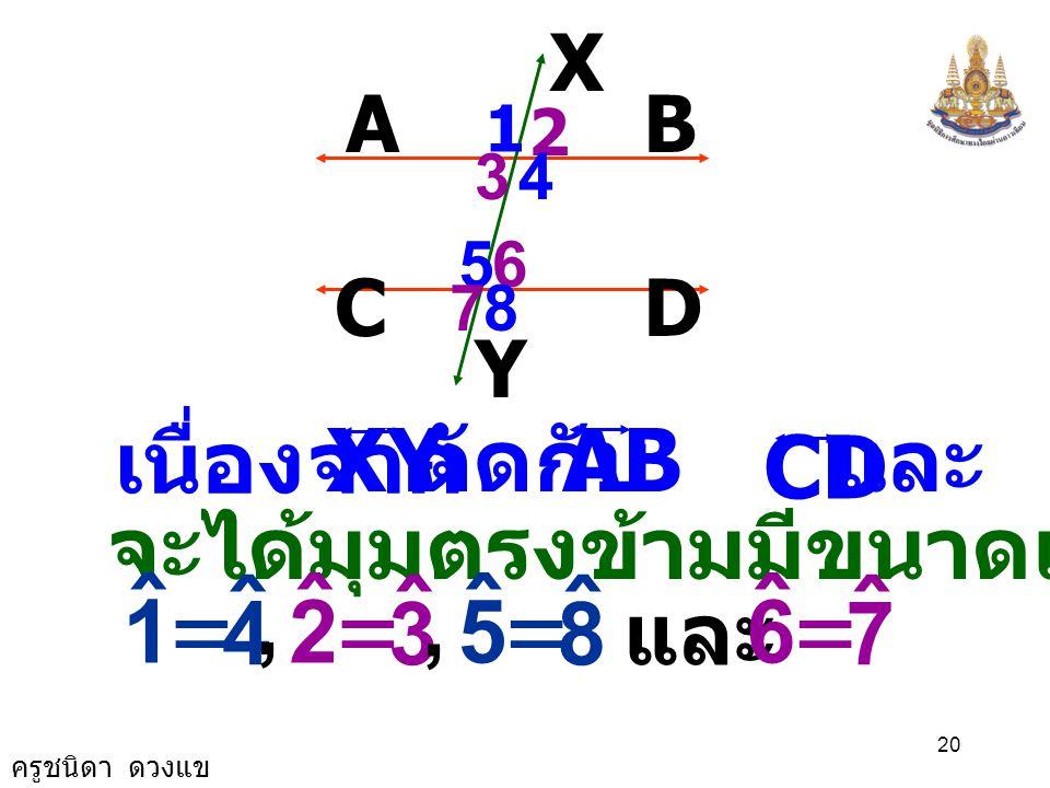 ครูชนิดา ดวงแข 19 AB X DC Y 1 2 34 65 78 เนื่องจาก AB // CD มี เป็นเส้นตัด XY จะได้มุมแย้งมีขนาดเท่ากันคือ 3 ˆ 6 ˆ = 4 ˆ 5 ˆ = และ