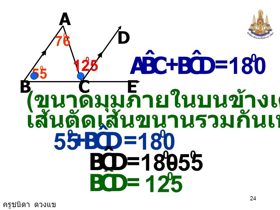 ครูชนิดา ดวงแข 23 A BCE D 55 0 76 0 กำหนดให้ BA // DE= 55 0 CBA ˆ และ = 76 0 CAB ˆ ต้องการพิสูจน์ ขนาดของ ECA ˆ พิสูจน์ BEBA//DE มีเป็นเส้นตัด