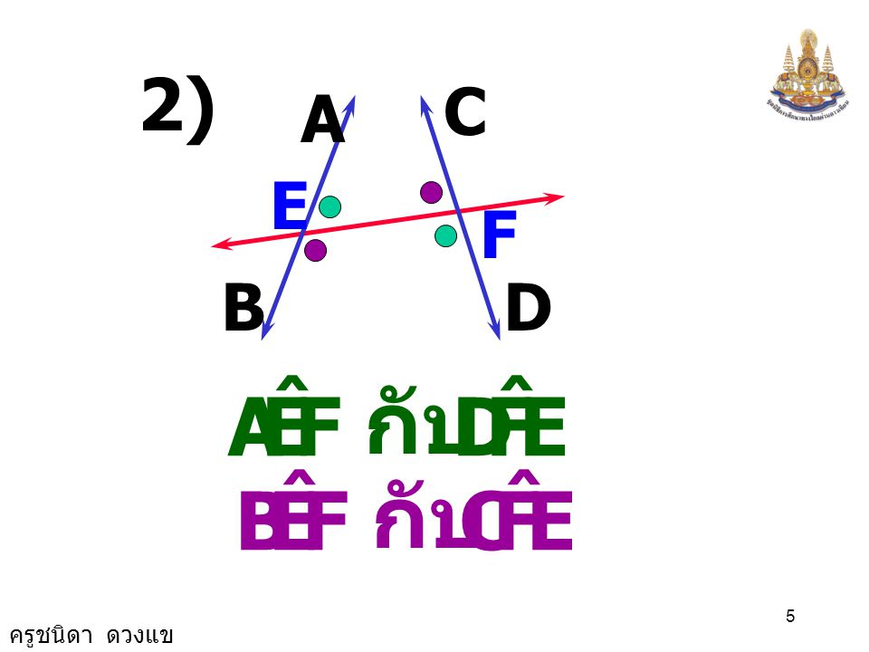 ครูชนิดา ดวงแข 5 C E A F 2) BD FEA ˆ EFD ˆ กับ FEB ˆ EFC ˆ