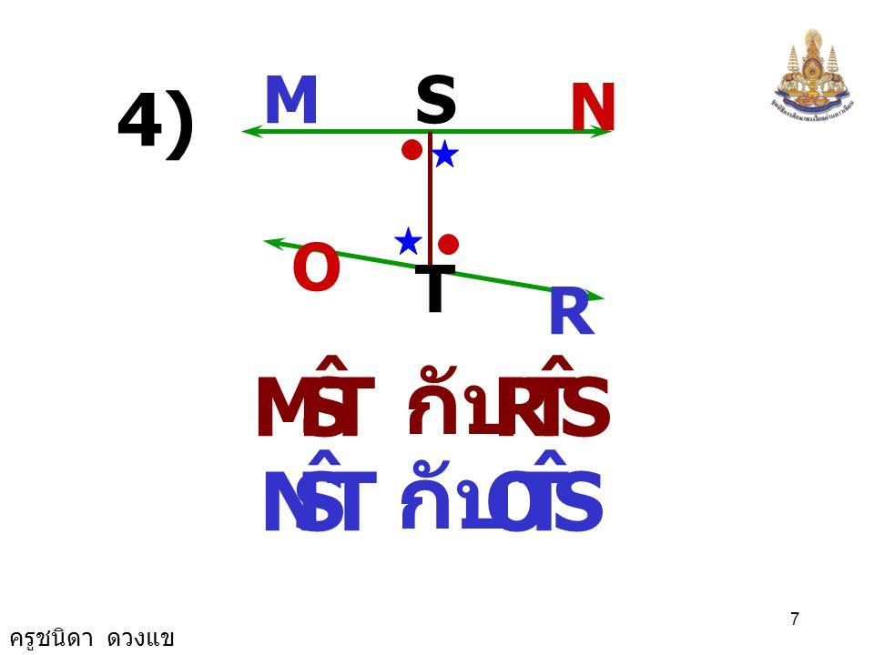 ครูชนิดา ดวงแข 17 A P B D Q C QPA ˆ PQD ˆ = และ QPB ˆ PQC ˆ = จะได้ว่า จากรูป AB // CDPQ เป็นเส้นตัด,