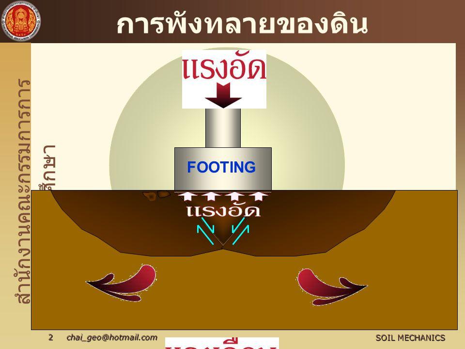 สำนักงานคณะกรรมการการ อาชีวศึกษา SOIL MECHANICS 2 chai_geo@hotmail.com การพังทลายของดิน FOOTING