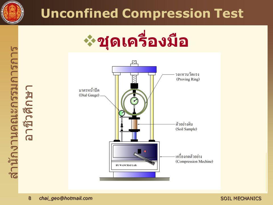 สำนักงานคณะกรรมการการ อาชีวศึกษา SOIL MECHANICS 8 chai_geo@hotmail.com Unconfined Compression Test  ชุดเครื่องมือ ทดสอบ
