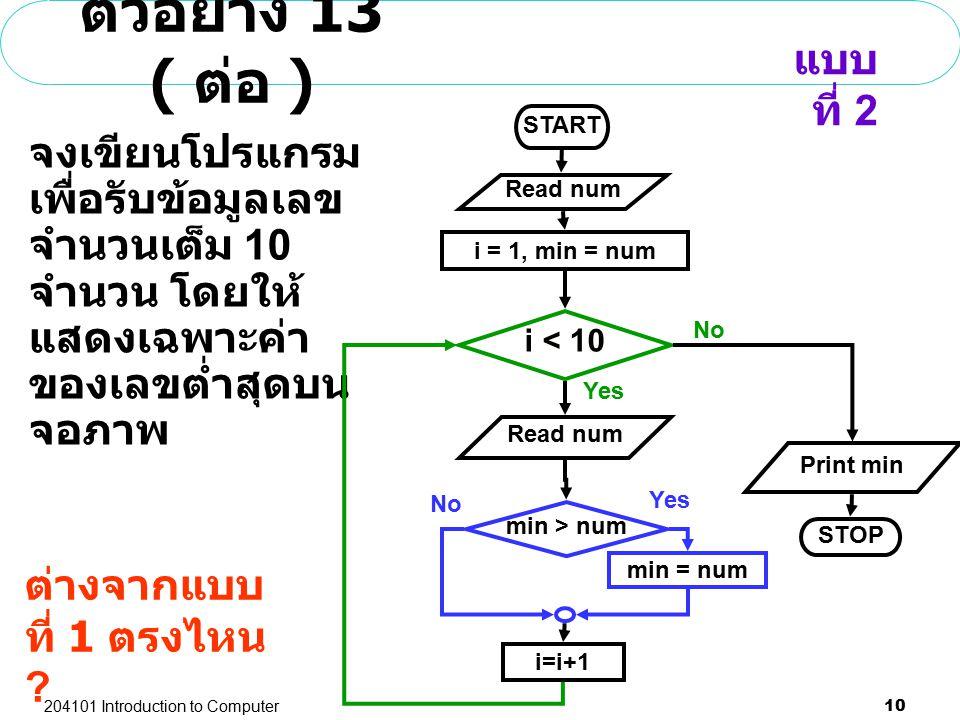 204101 Introduction to Computer 10 ตัวอย่าง 13 ( ต่อ ) จงเขียนโปรแกรม เพื่อรับข้อมูลเลข จำนวนเต็ม 10 จำนวน โดยให้ แสดงเฉพาะค่า ของเลขต่ำสุดบน จอภาพ mi