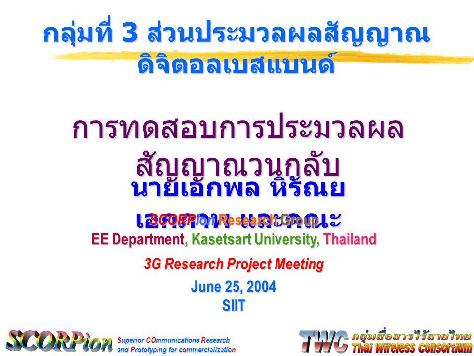 Superior COmmunications Research and Prototyping for commercialization นายเอกพล หิรัณย เอกภาพ และคณะ กลุ่มที่ 3 ส่วนประมวลผลสัญญาณ ดิจิตอลเบสแบนด์ SCORPion Research Group EE Department, Kasetsart University, Thailand 3G Research Project Meeting June 25, 2004 SIIT การทดสอบการประมวลผล สัญญาณวนกลับ
