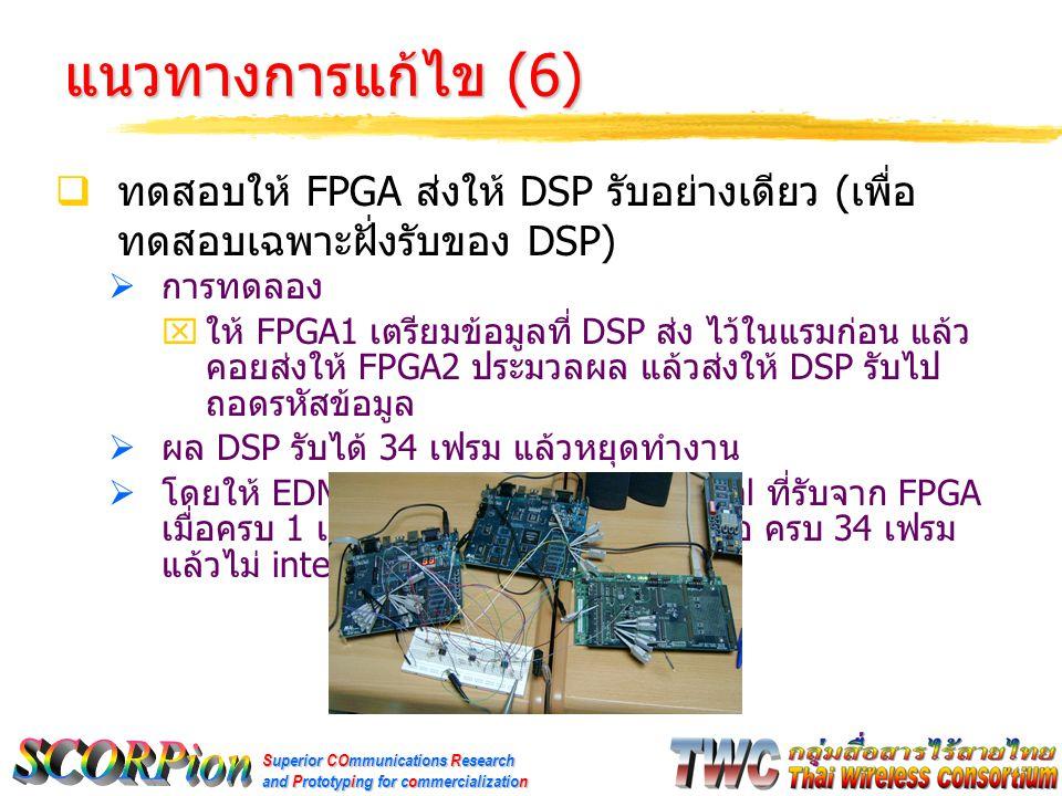 Superior COmmunications Research and Prototyping for commercialization แนวทางการแก้ไข (6)  ทดสอบให้ FPGA ส่งให้ DSP รับอย่างเดียว ( เพื่อ ทดสอบเฉพาะฝั่งรับของ DSP)  การทดลอง  ให้ FPGA1 เตรียมข้อมูลที่ DSP ส่ง ไว้ในแรมก่อน แล้ว คอยส่งให้ FPGA2 ประมวลผล แล้วส่งให้ DSP รับไป ถอดรหัสข้อมูล  ผล DSP รับได้ 34 เฟรม แล้วหยุดทำงาน  โดยให้ EDMA จัดการรับข้อมูล จาก serial ที่รับจาก FPGA เมื่อครบ 1 เฟรมจะ interrupt CPU แต่เมื่อ ครบ 34 เฟรม แล้วไม่ interrupt อีก