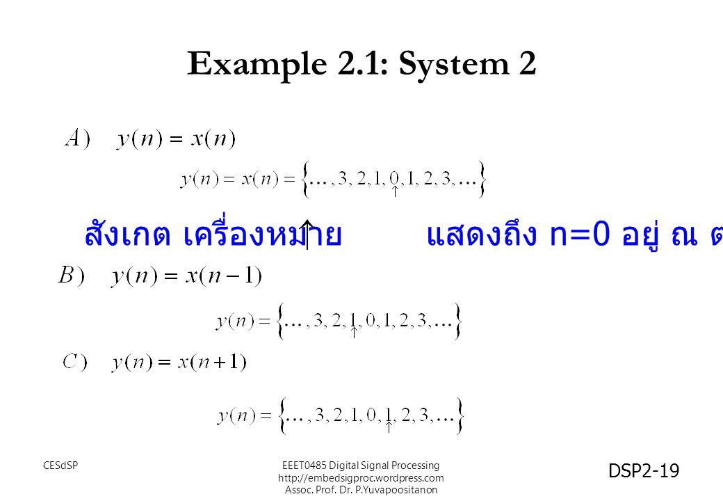 DSP2-19 Example 2.1: System 2 สังเกต เครื่องหมาย แสดงถึง n=0 อยู่ ณ ตำแหน่งนั้น EEET0485 Digital Signal Processing http://embedsigproc.wordpress.com A