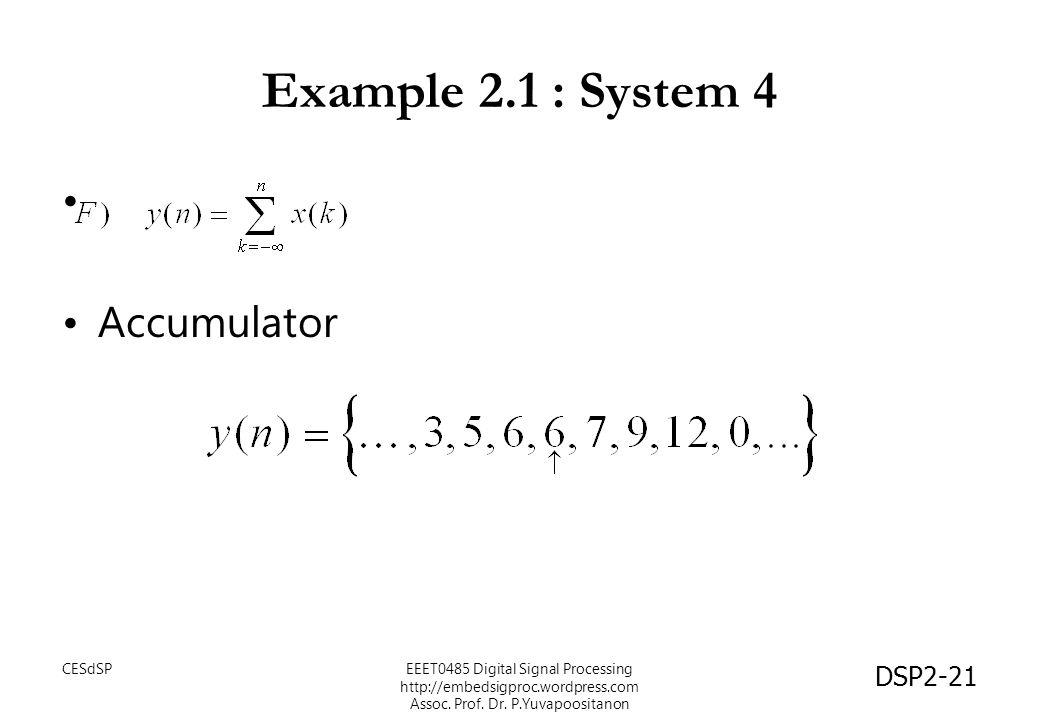 DSP2-21 Example 2.1 : System 4 Accumulator EEET0485 Digital Signal Processing http://embedsigproc.wordpress.com Assoc. Prof. Dr. P.Yuvapoositanon CESd
