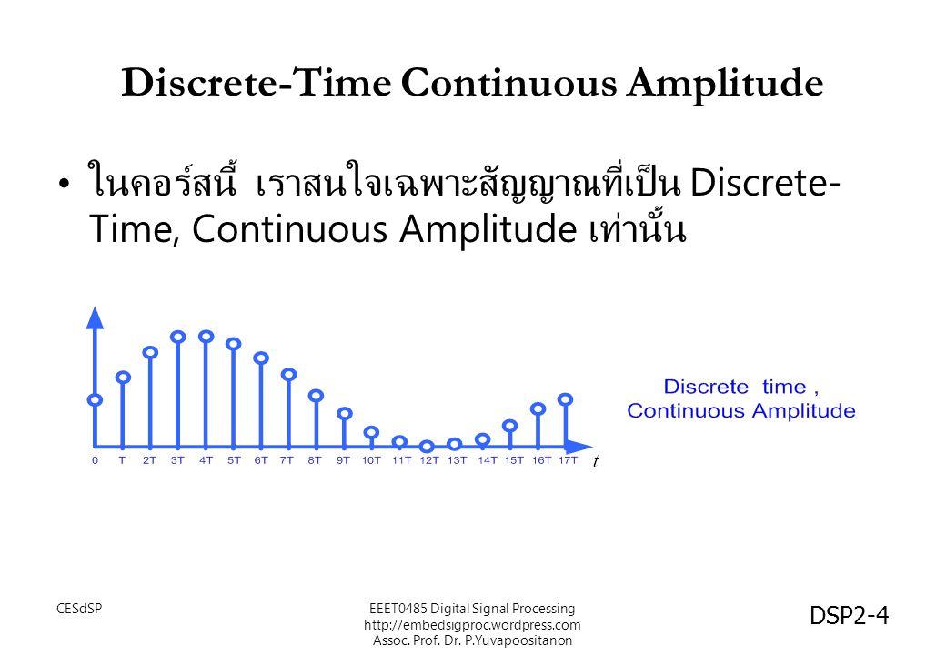การ sampling และสมการความ แตกต่างแบบไม่วนซ้ำ จะได้ว่า ผลการ sampling นั้นคือ การเป็นสมการความ แตกต่างแบบไม่วนซ้ำ หรือ โดยตัด T ออก เพื่อความสะดวก CESdSPEEET0485 Digital Signal Processing http://embedsigproc.wordpress.com Assoc.