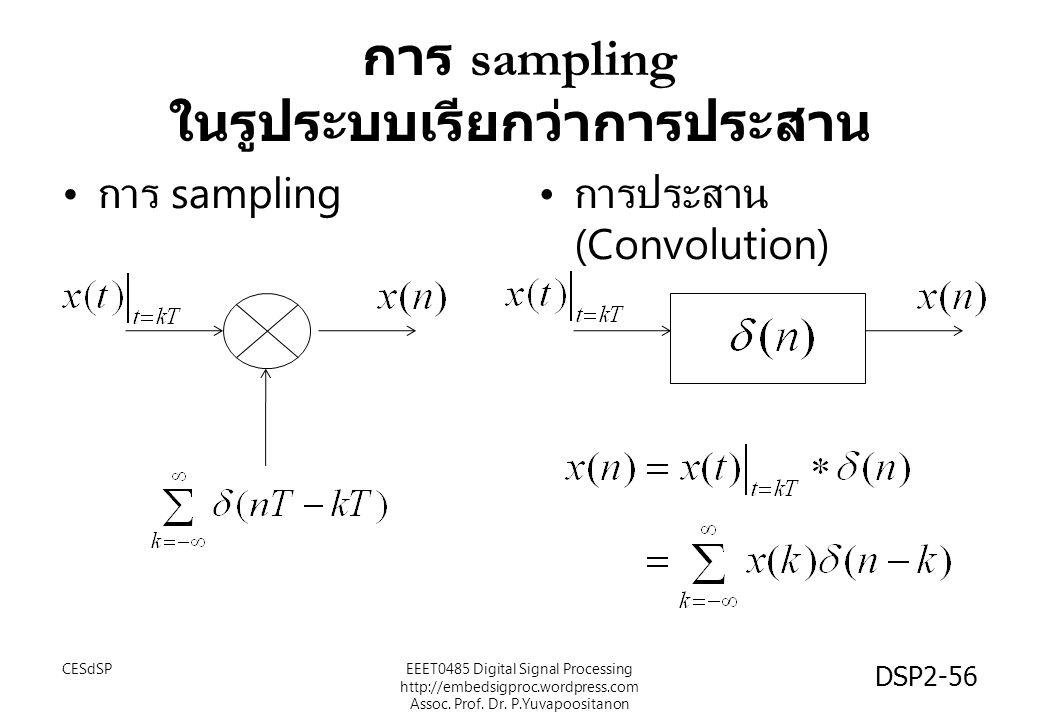 การ sampling ในรูประบบเรียกว่าการประสาน CESdSPEEET0485 Digital Signal Processing http://embedsigproc.wordpress.com Assoc. Prof. Dr. P.Yuvapoositanon D