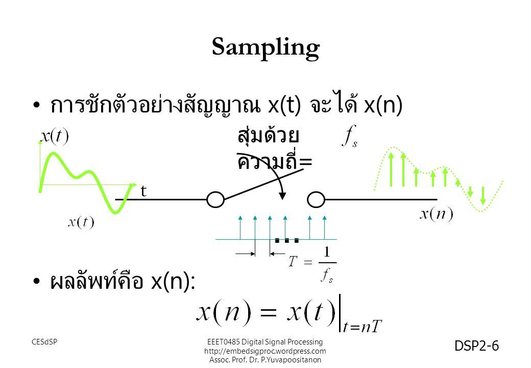 DSP2-6 Sampling การชักตัวอย่างสัญญาณ x(t) จะได้ x(n) ผลลัพท์คือ x(n): สุ่มด้วย ความถี่ =... t EEET0485 Digital Signal Processing http://embedsigproc.w