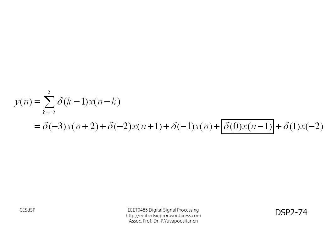 EEET0485 Digital Signal Processing http://embedsigproc.wordpress.com Assoc. Prof. Dr. P.Yuvapoositanon DSP2-74