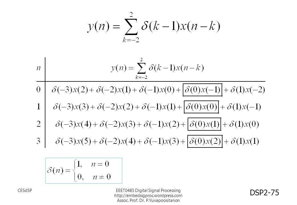 CESdSPEEET0485 Digital Signal Processing http://embedsigproc.wordpress.com Assoc. Prof. Dr. P.Yuvapoositanon DSP2-75