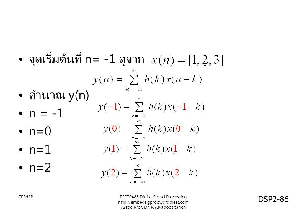 DSP2-86 จุดเริ่มต้นที่ n= -1 ดูจาก คำนวณ y(n) n = -1 n=0 n=1 n=2 EEET0485 Digital Signal Processing http://embedsigproc.wordpress.com Assoc. Prof. Dr.