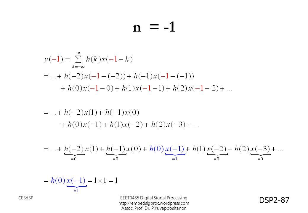 DSP2-87 n = -1 EEET0485 Digital Signal Processing http://embedsigproc.wordpress.com Assoc. Prof. Dr. P.Yuvapoositanon CESdSP
