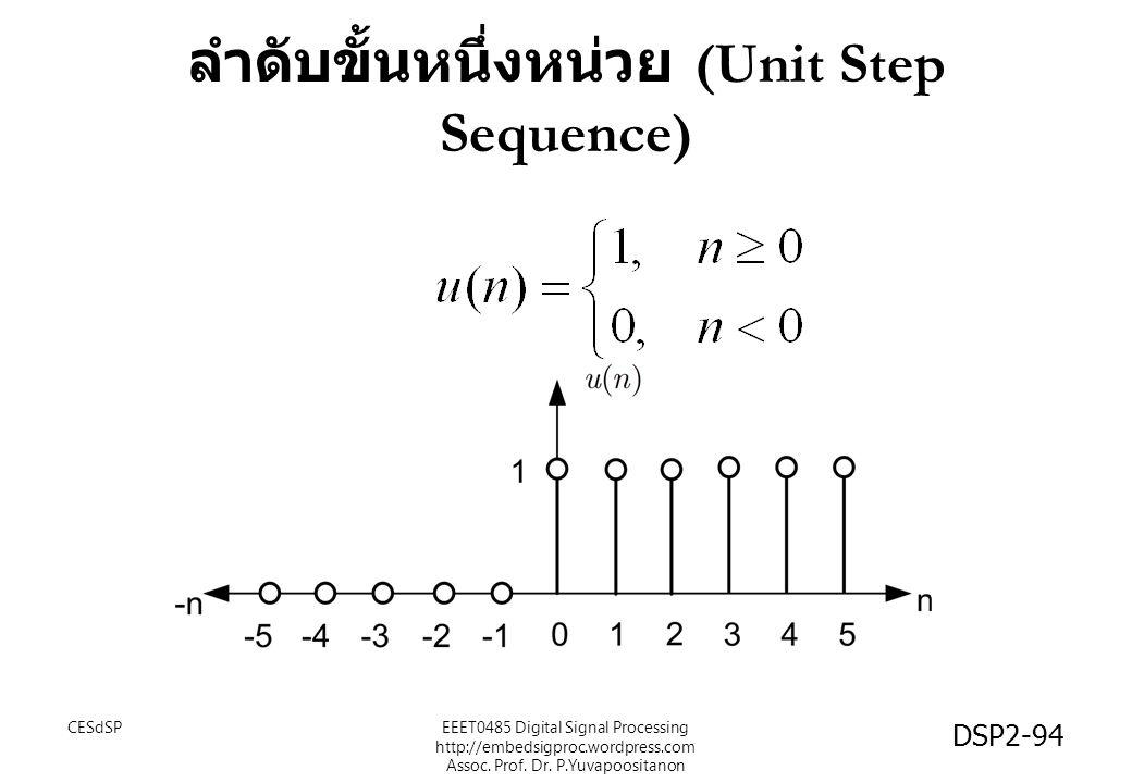 ลำดับขั้นหนึ่งหน่วย (Unit Step Sequence) CESdSPEEET0485 Digital Signal Processing http://embedsigproc.wordpress.com Assoc. Prof. Dr. P.Yuvapoositanon