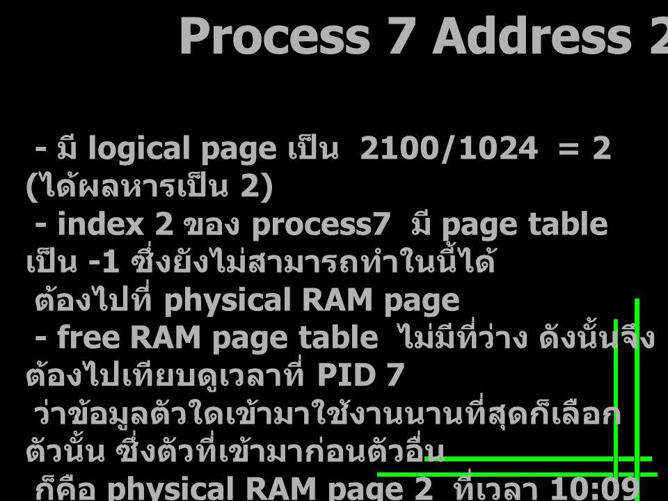 Process 7 Address 2100 - มี logical page เป็น 2100/1024 = 2 ( ได้ผลหารเป็น 2) - index 2 ของ process7 มี page table เป็น -1 ซึ่งยังไม่สามารถทำในนี้ได้ ต้องไปที่ physical RAM page - free RAM page table ไม่มีที่ว่าง ดังนั้นจึง ต้องไปเทียบดูเวลาที่ PID 7 ว่าข้อมูลตัวใดเข้ามาใช้งานนานที่สุดก็เลือก ตัวนั้น ซึ่งตัวที่เข้ามาก่อนตัวอื่น ก็คือ physical RAM page 2 ที่เวลา 10:09 และต้องปรับเวลาล่าสุด จากนั้นกลับไปทำที่ DASD page จาก backing store - Free DASD Page table ที่พื้นที่ว่างอยู่ที่ page 0 ซึ่งสามารถใช้ ตัวนี้ได้โดยใส่เลข 7 ใน Free DASD Page table