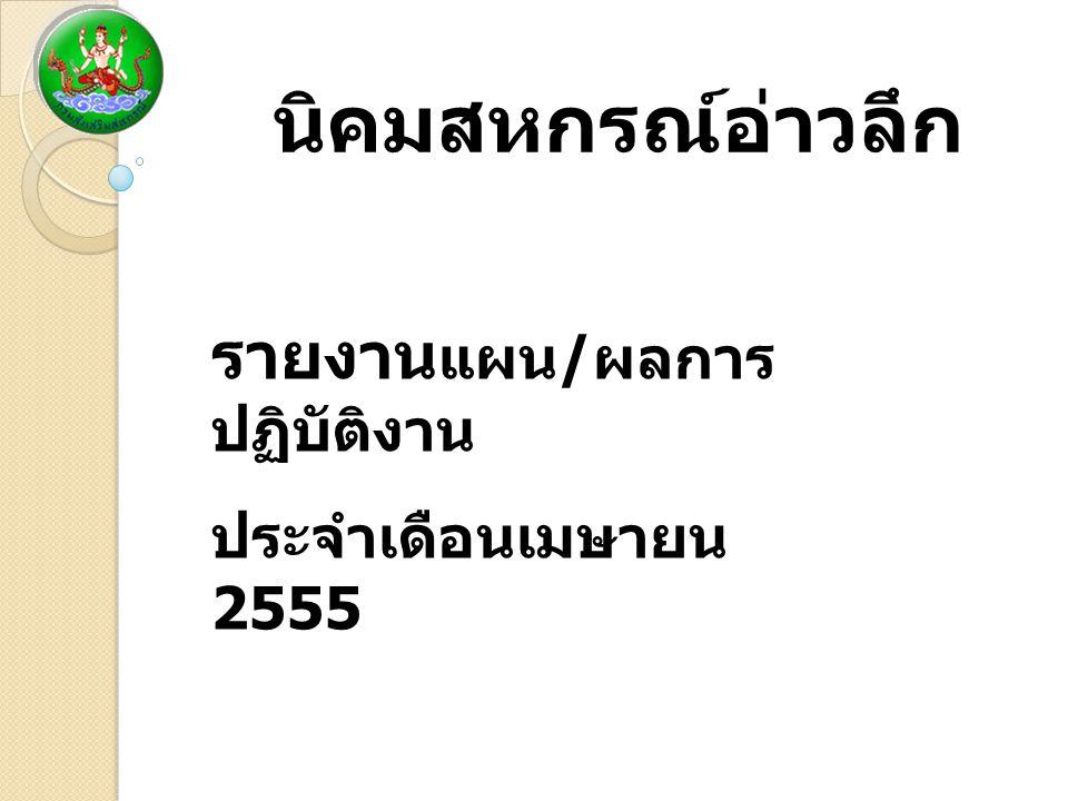 นิคมสหกรณ์อ่าวลึก รายงาน แผน / ผลการ ปฏิบัติงาน ประจำเดือนเมษายน 2555