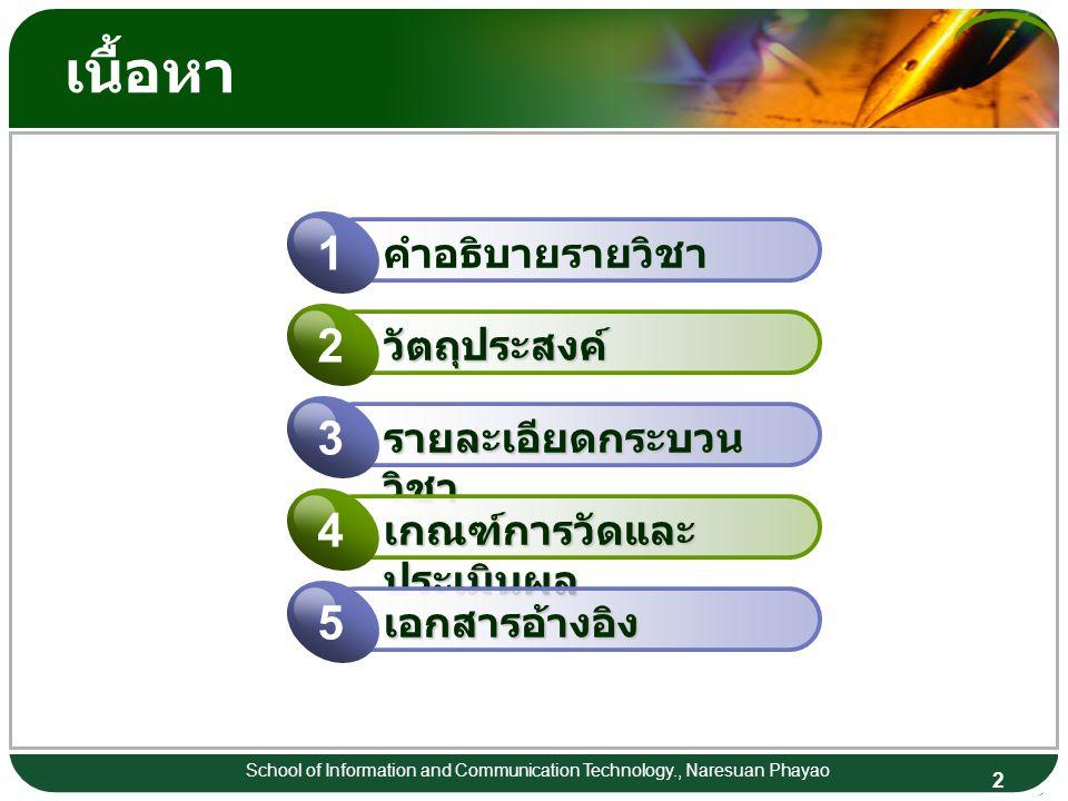 2 School of Information and Communication Technology., Naresuan Phayao เนื้อหา คำอธิบายรายวิชา 1 วัตถุประสงค์ 2 รายละเอียดกระบวน วิชา 3 เกณฑ์การวัดและ