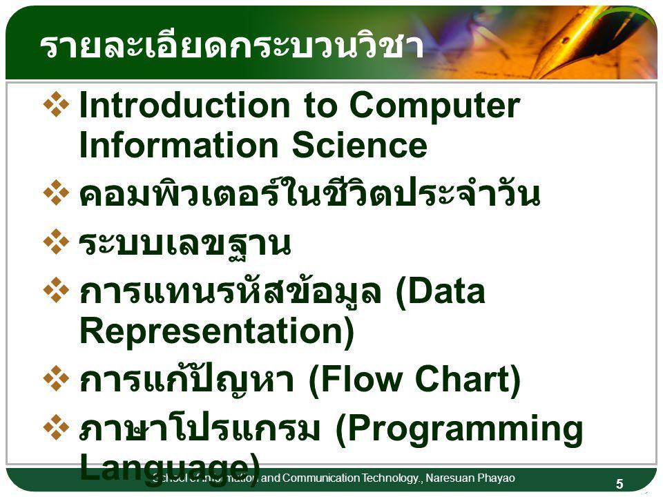 6 School of Information and Communication Technology., Naresuan Phayao รายละเอียดกระบวนวิชา  ระบบปฎิบัติการ (Operating Systems)  ระบบแฟ้มข้อมูล และไดเร็กทอรี (File Systems and Directories)  ฐานข้อมูล (Database)  ระบบสารสนเทศ (Information System)  ปัญญาประดิษฐ์ (Artificial Intelligence)  ระบบเครือข่าย (Network)  World Wide Web